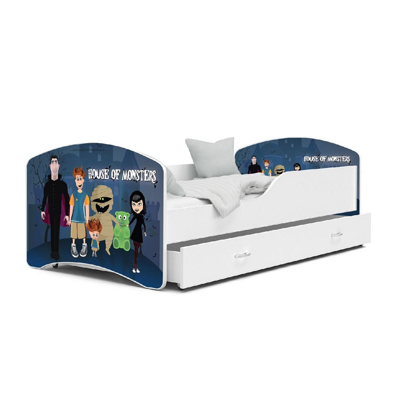 Ξύλινο Παιδικό Μονό Κρεβάτι με Στρώμα και 1 Συρτάρι 180 x 80 cm SPM JAN-IGOR180-74 - JAN-IGOR180-74
