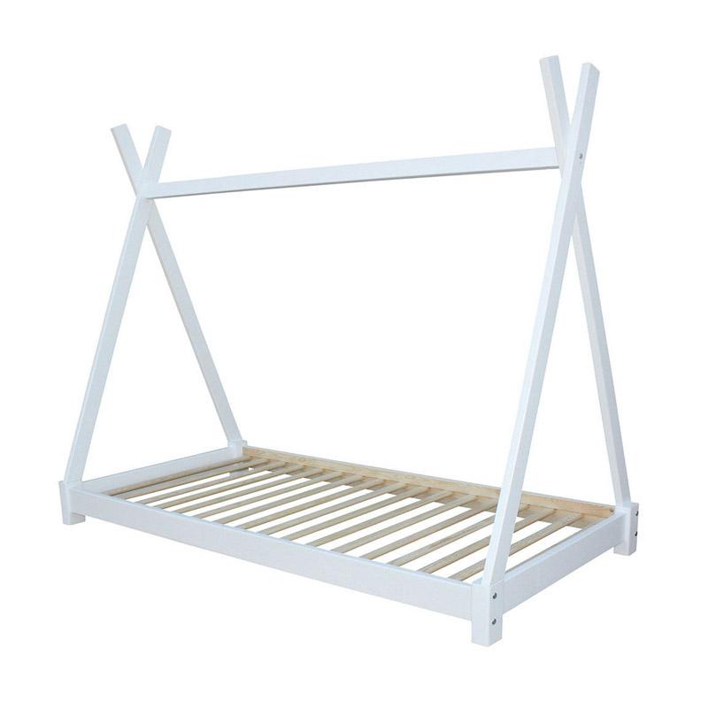 Παιδικό Ξύλινο Κρεβάτι Σκηνή Tipi 146 x 74.5 x 140 cm Χρώματος Λευκό Hoppline HOP1001084-2 - HOP1001084-2