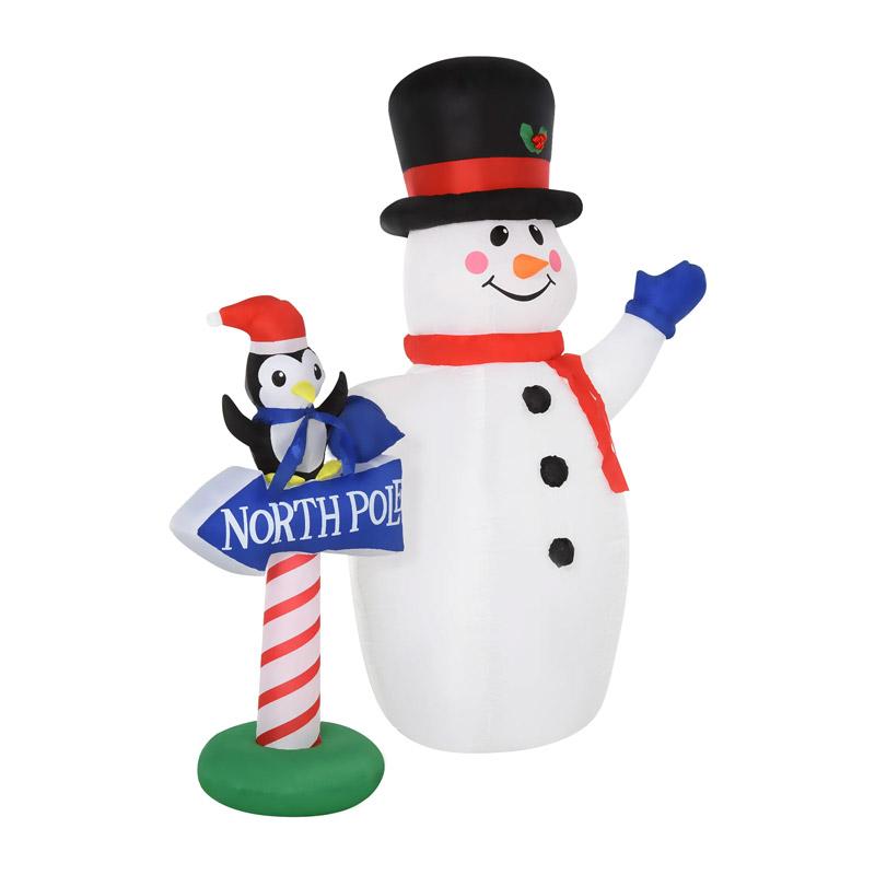 Φουσκωτός Χιονάνθρωπος 187 cm με LED Φωτισμό HOMCOM 844-294 - 844-294