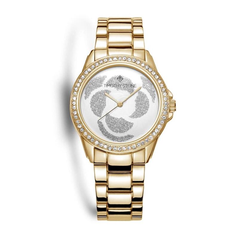 Γυναικείο Ρολόι Χρώματος Χρυσό με Μεταλλικό Μπρασελέ και Κρύσταλλα Swarovski® Timothy Stone K-012-ALGD - K-012-ALGD
