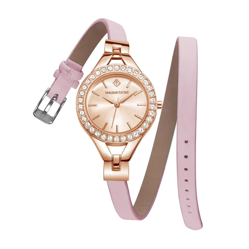 Γυναικείο Ρολόι Χρώματος Ροζ-Χρυσό με Δερμάτινο Ροζ Λουράκι και Κρύσταλλα Swarovski® Timothy Stone J-015-LTWPK - J-015-LTWPK