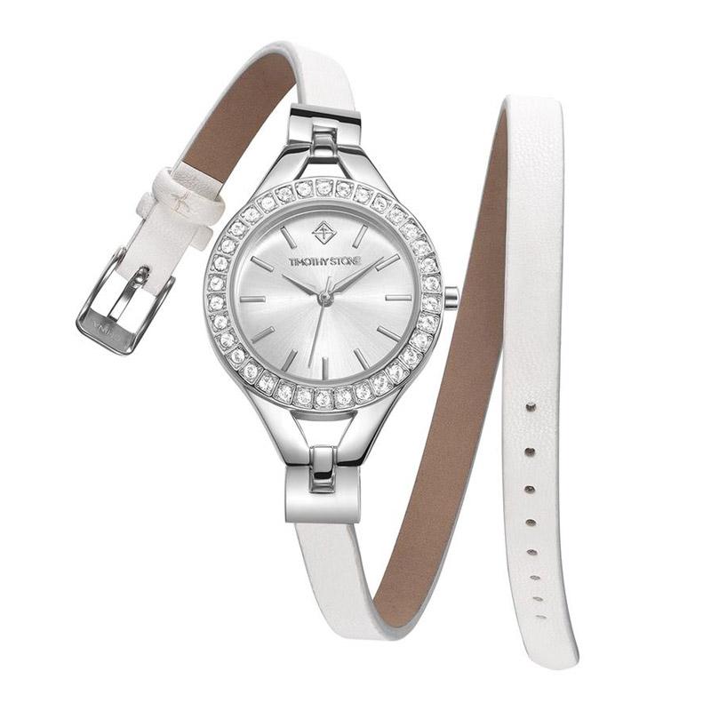 Γυναικείο Ρολόι Χρώματος Γκρι με Δερμάτινο Λευκό Λουράκι και Κρύσταλλα Swarovski® Timothy Stone J-016-LTWSL - J-016-LTWSL