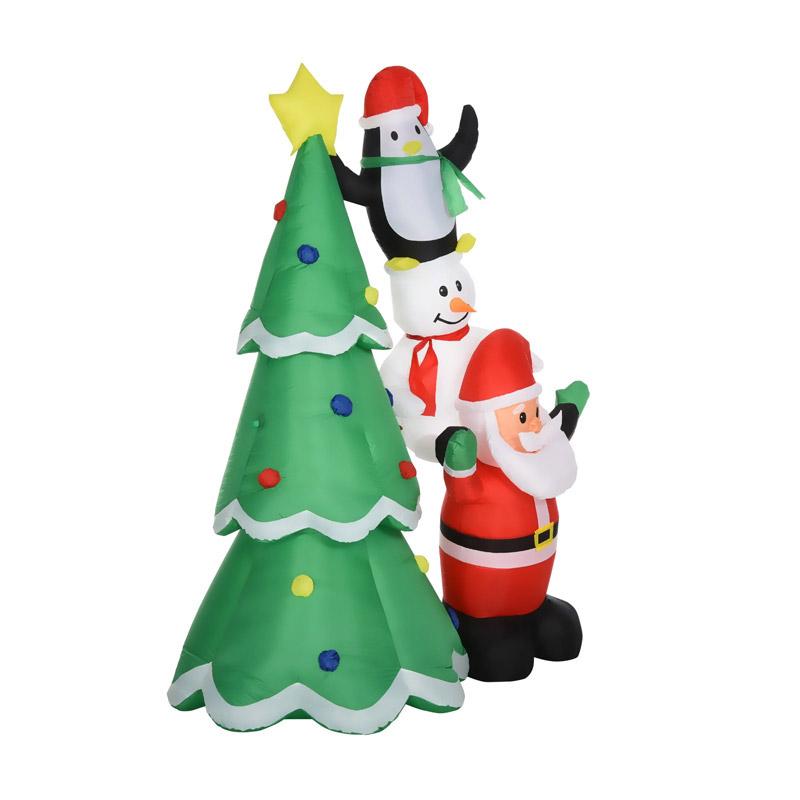 Φουσκωτό Χριστουγεννιάτικo Δέντρο 243 cm με LED Φωτισμό HOMCOM 844-301V70 - 844-301V70
