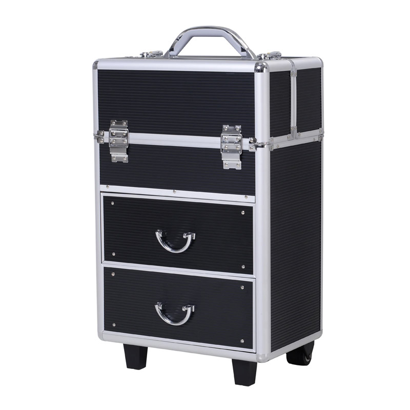 Βαλίτσα Μακιγιάζ Τρόλεϊ Αλουμινίου HOMCOM 501-009BK - 501-009BK