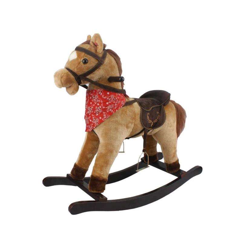 Λούτρινο Κουνιστό Αλογάκι με Ήχους Χρώματος Καφέ Ανοιχτό Hoppline HOP1001108-2 - HOP1001108-2