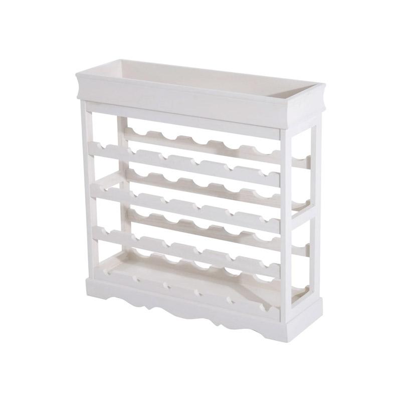 Ξύλινη Κάβα Κρασιών - Μπουκαλοθήκη 24 Θέσεων 70 x 22.5 x 70 cm Χρώματος Λευκό HOMCOM 801-029WT - 801-029WT