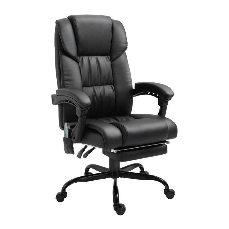 Καρέκλα Γραφείου Μασάζ 6 Σημείων με Υποπόδιο Vinsetto 921-275BK - 921-275BK