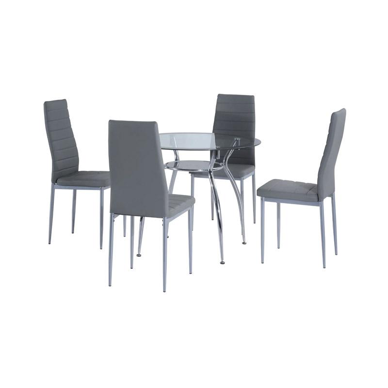 Σετ Μεταλλικό Στρογγυλό Τραπέζι 90 x 75 cm με 4 Καρέκλες HOMCOM 835-033GY - 835-033GY