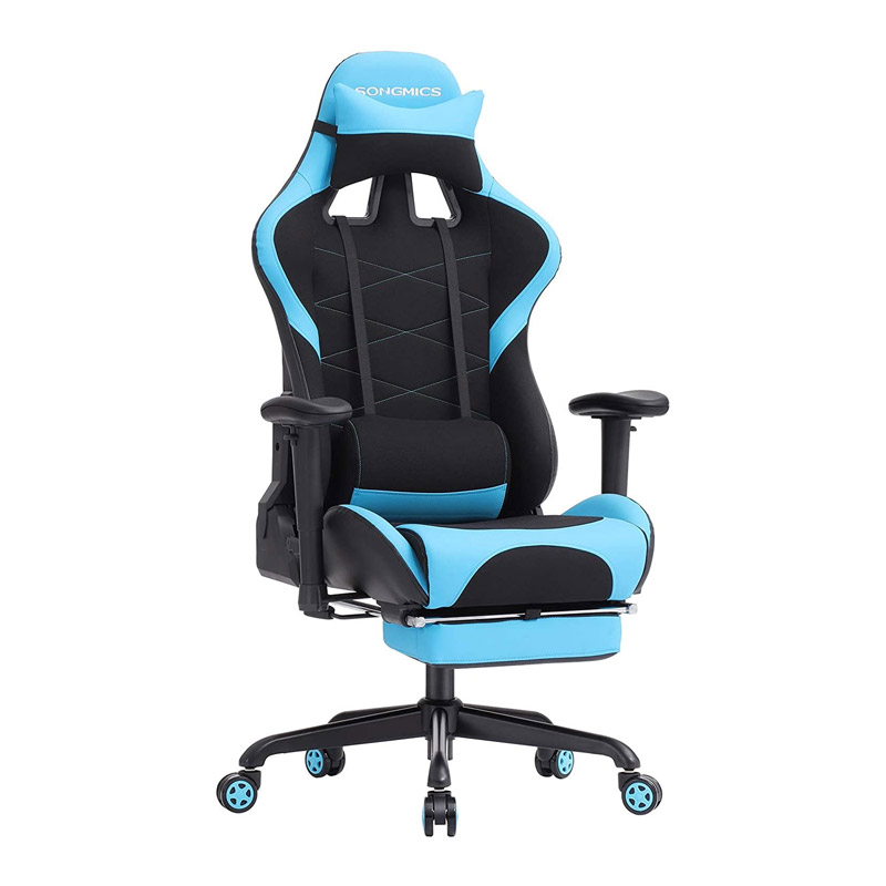 Καρέκλα Gaming με Υποπόδιο Χρώματος Μπλε Songmics RCG52BU - RCG52BU