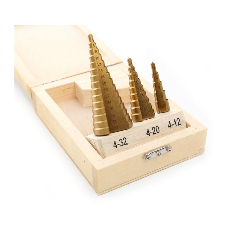 Σετ Κωνικά Τρυπάνια με Επίστρωση Τιτανίου HSS 3 τμχ Kraft&Dele KD-10244 - KD-10244