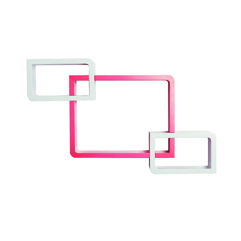Σετ Επιτοίχια Ξύλινα Ράφια 38 x 12 x 30 cm 3 τμχ Χρώματος Ροζ - Λευκό HOMCOM 830-163 - 830-163