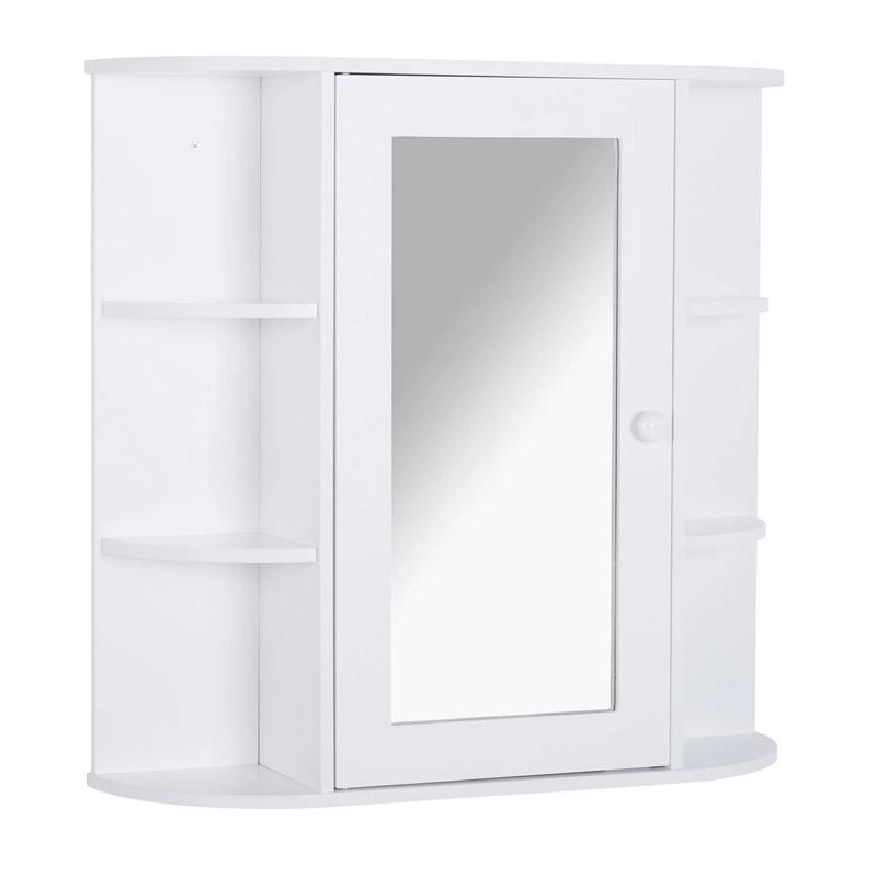 Κρεμαστό Ντουλάπι Μπάνιου με Καθρέπτη και 6 Ράφια 66 x 17 x 63 cm HOMCOM 834-203 - 834-203