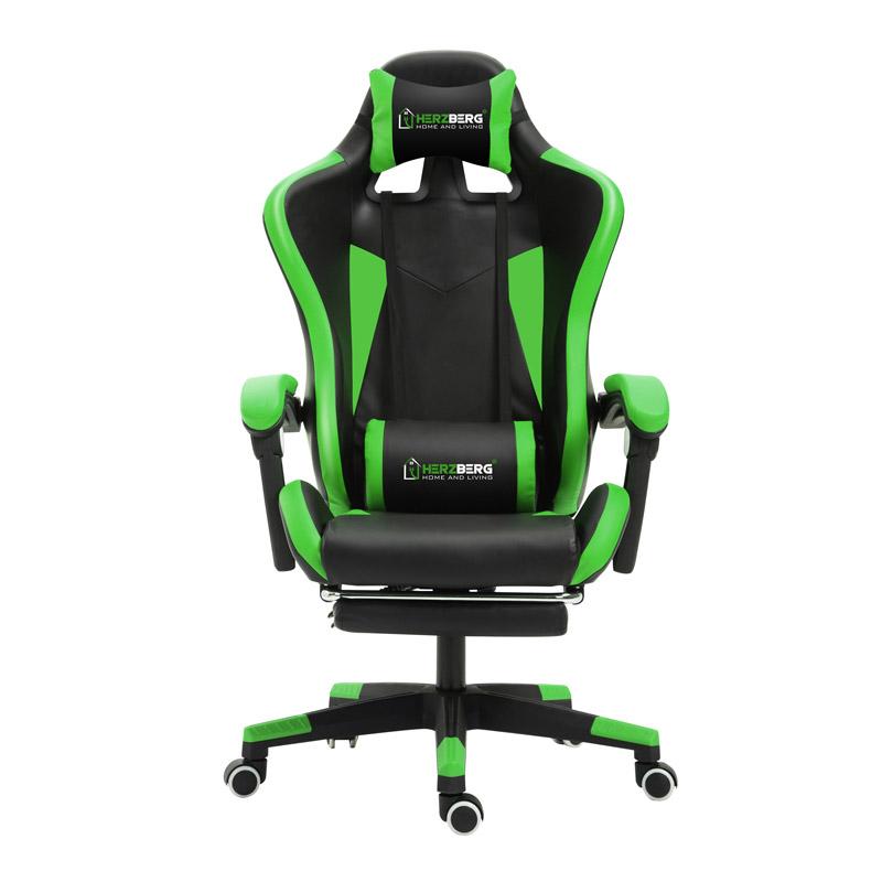 Καρέκλα Gaming με Υποπόδιο Χρώματος Πράσινο Herzberg HG-8080GRN - InnovaGoods HG-8080GRN