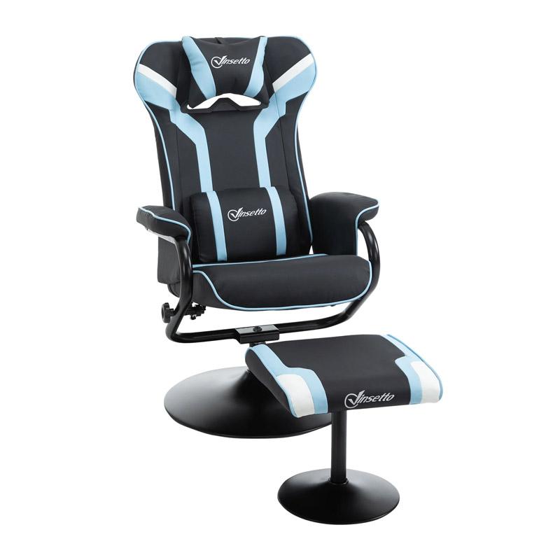 Καρέκλα Gaming με Υποπόδιο 67 x 82.5 x 103 cm Χρώματος Γαλάζιο Vinsetto 833-886V70 - 833-886V70
