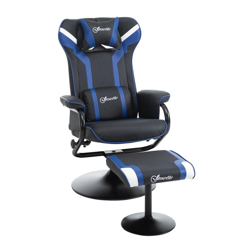 Καρέκλα Gaming με Υποπόδιο 67 x 82.5 x 103 cm Χρώματος Μπλε Vinsetto 833-886V70BU - 833-886V70BU