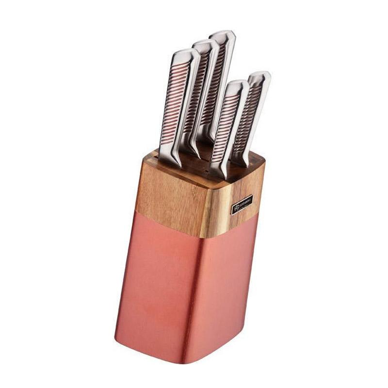 Σετ Μαχαίρια με Ξύλινη Βάση 6 τμχ Χρώματος Ροζ - Χρυσό Edenberg EB-924 - EB-924