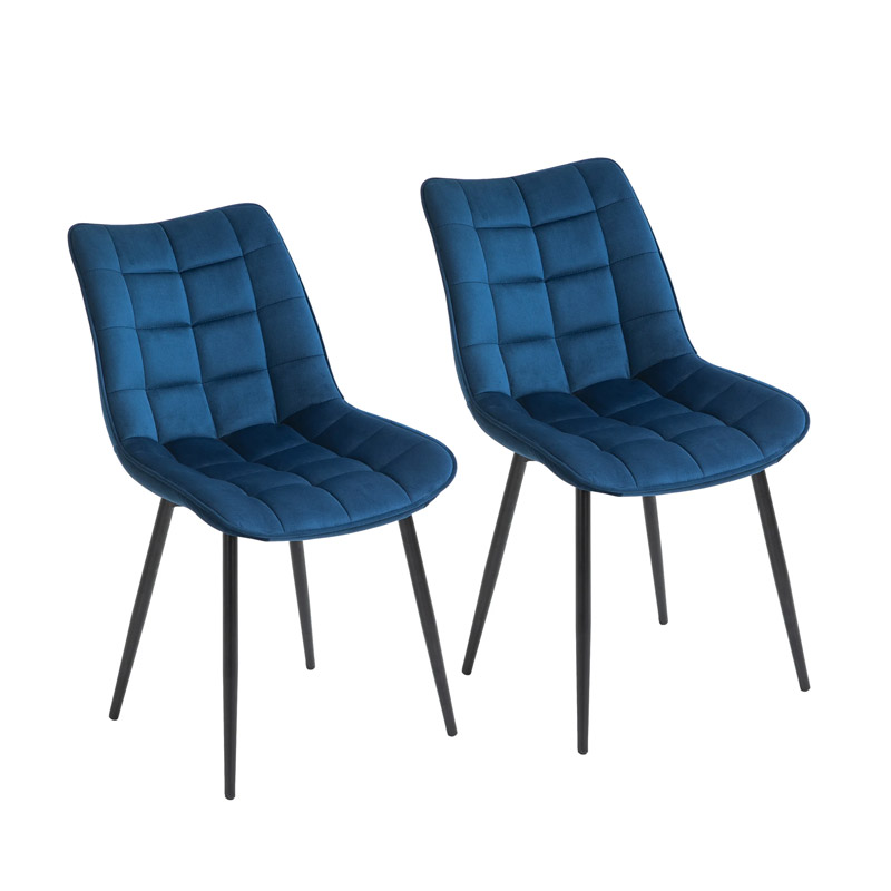 Σετ Μεταλλικές Καρέκλες με Βελούδινη Επένδυση 46 x 58.5 x 85.5 cm Χρώματος Μπλε 2 τμχ HOMCOM 835-283BU - 835-283BU