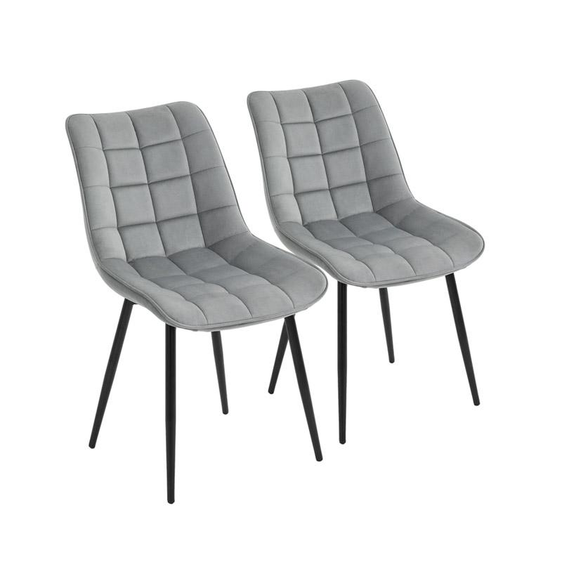 Σετ Μεταλλικές Καρέκλες με Βελούδινη Επένδυση 46 x 58.5 x 85.5 cm Χρώματος Γκρι 2 τμχ HOMCOM 835-283GY - 835-283GY