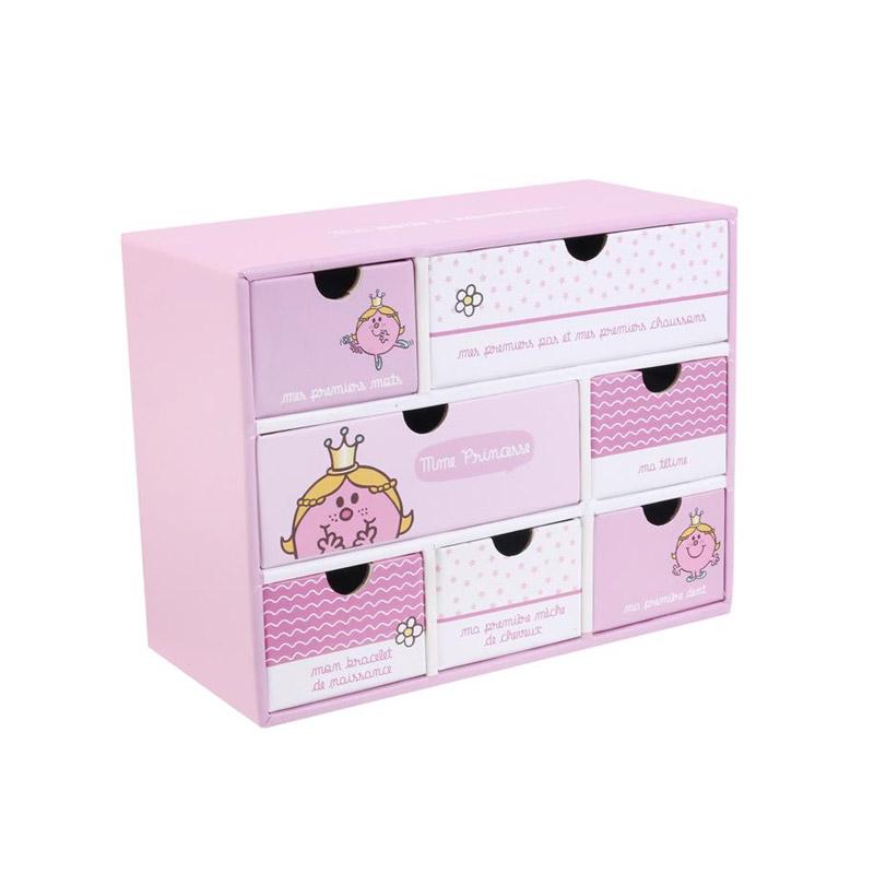 Χάρτινο Παιδικό Κουτί Αποθήκευσης με 7 Συρτάρια 19 x 9 x 15 cm Princess Monsieur Madame MM3287P - MM3287P