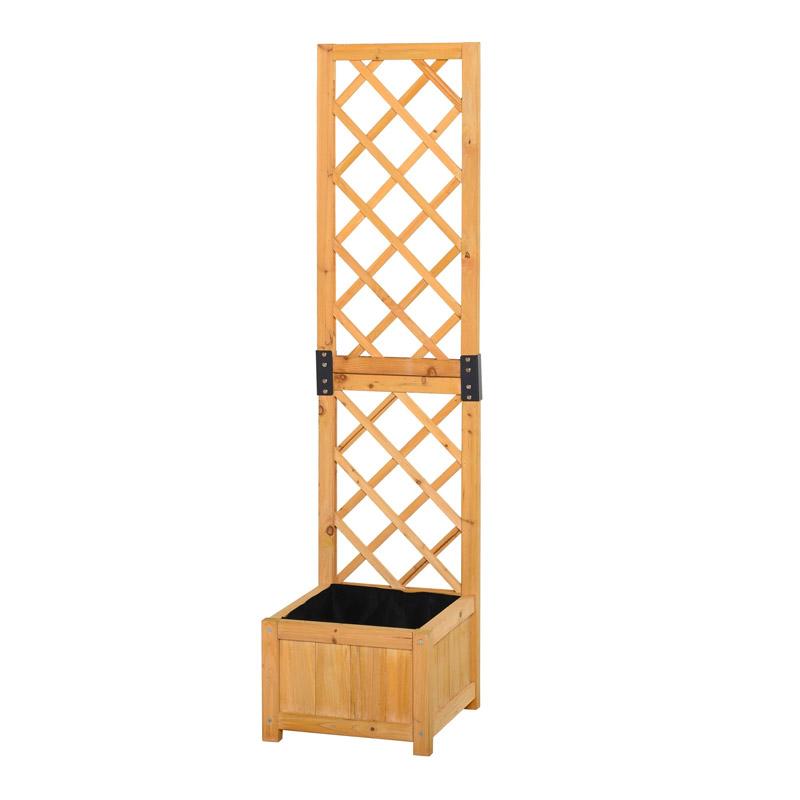 Ξύλινη Ζαρντινιέρα Κήπου με Καφασωτό 40 x 40 x 160 cm Outsunny 845-369V01 - 845-369V01