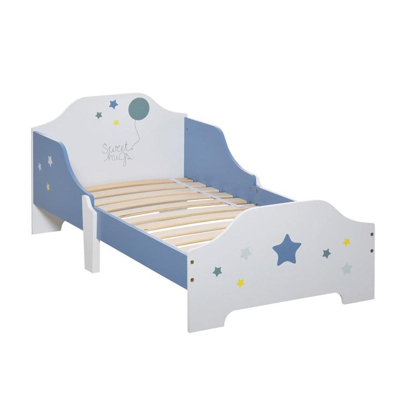 Ξύλινο Χαμηλό Μονό Παιδικό Κρεβάτι 143 x 74 x 59 cm για Στρώμα 140 x 70 x 5-10 cm HOMCOM 311-021 - 311-021