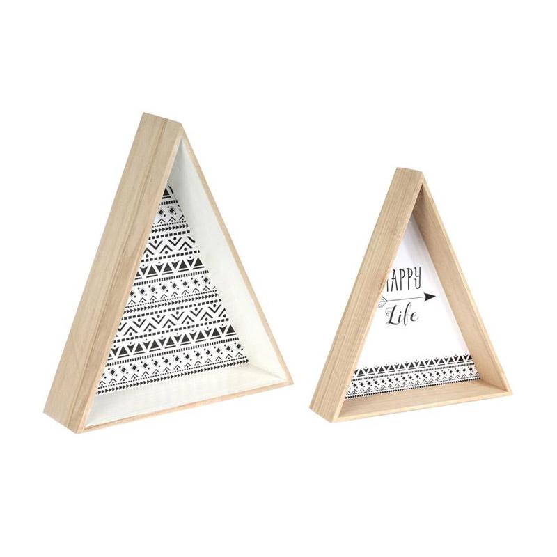 Σετ Ξύλινα Τρίγωνα Διακοσμητικά 44 x 38 x 11 cm 2 τμχ Home Deco Factory HD4556 - HD4556