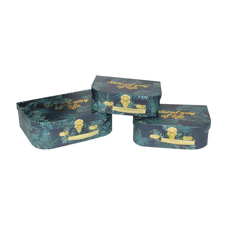 Σετ Χάρτινα Αποθηκευτικά Κουτιά - Βαλιτσάκια Nesting 27.8 x 21.2 x 9 cm 3 τμχ Home Deco Factory RG6142 - RG6142