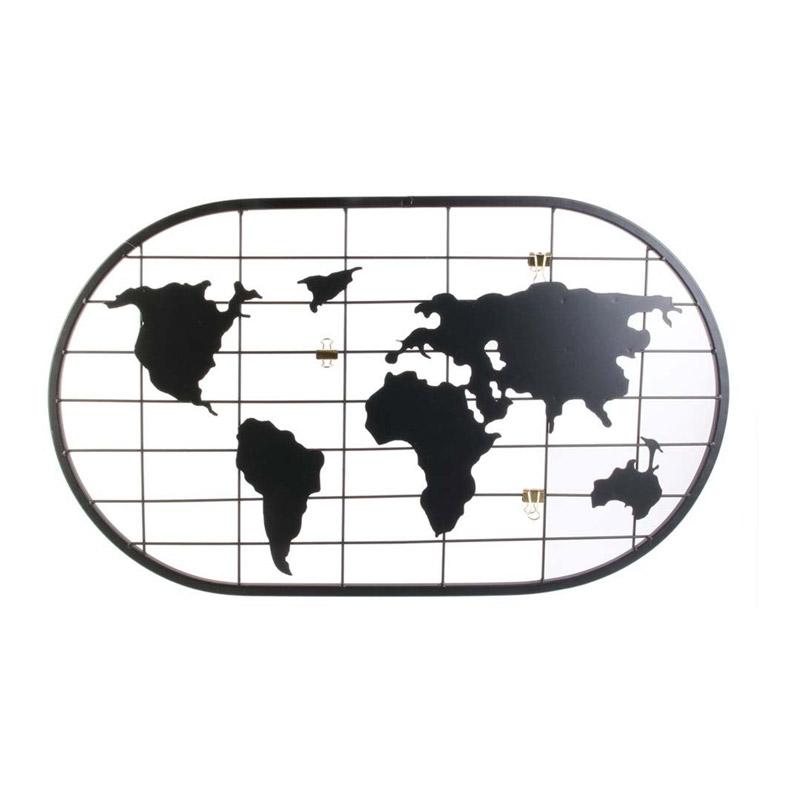 Μεταλλικό Διακοσμητικό Πλέγμα Τοίχου Παγκόσμιος Χάρτης 60 x 35 cm Home Deco Factory MO1311 - MO1311