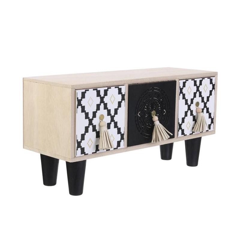 Ξύλινο Κουτί Αποθήκευσης με 3 Συρτάρια 35 x 17.8 x 12.2cm Home Deco Factory HD2137 - HD2137