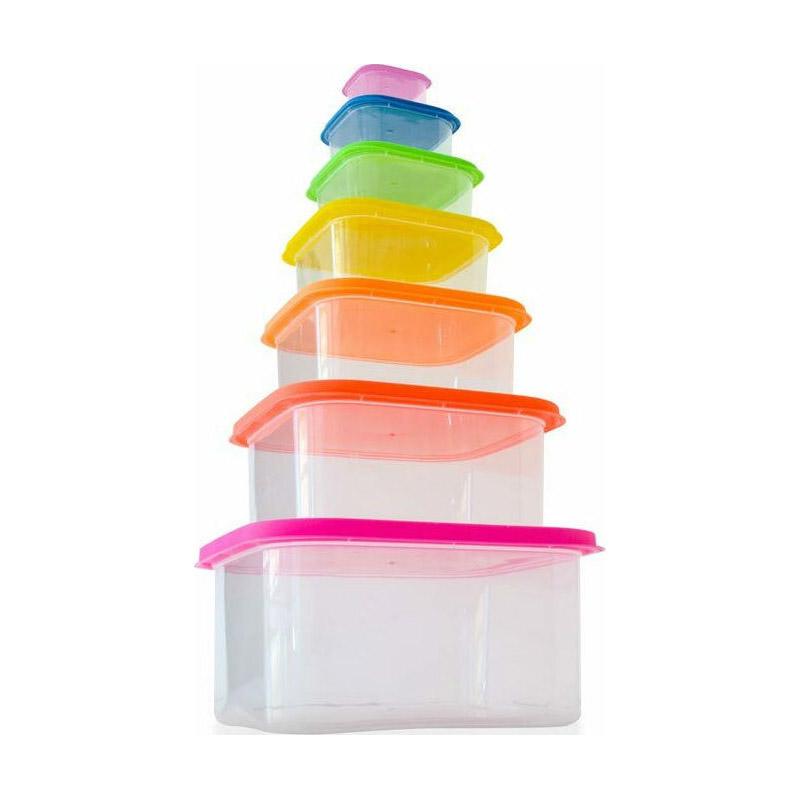 Σετ Πλαστικά Δοχεία Φαγητού με Χρωματιστά Καπάκια 7 τμχ Herzberg HG-SFS7N1 - HG-SFS7N1