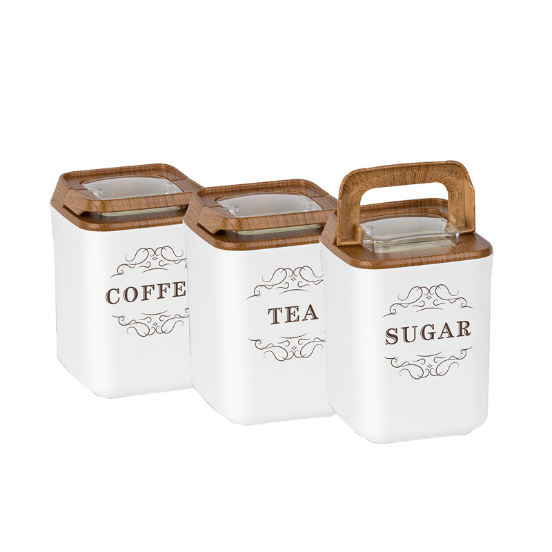 Σετ Πλαστικά Δοχεία Ζάχαρης - Καφέ - Τσάι 3 τμχ Herzberg HG-OKY237 - HG-OKY237