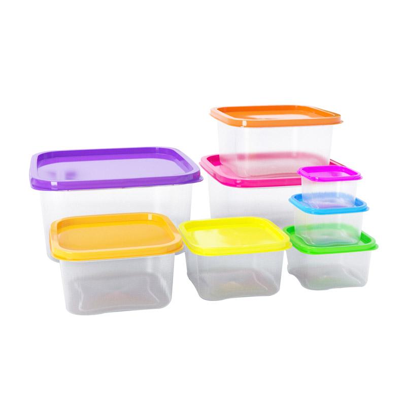 Σετ Πλαστικά Δοχεία Φαγητού με Χρωματιστά Καπάκια 8 τμχ Herzberg HG-SFS8N1 - HG-SFS8N1