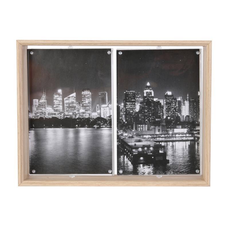 Ξύλινη Περιστρεφόμενη Κορνίζα 2 Θέσεων 17 x 5.1 x 22.2 cm Home Deco Factory HD4235 - HD4235