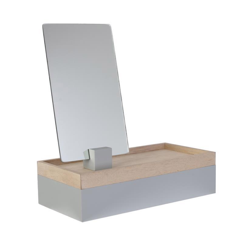 Ξύλινη Κοσμηματοθήκη - Μπιζουτιέρα με Καθρέπτη 25 x 8.5 x 12 cm Home Deco Factory HD2303 - HD2303