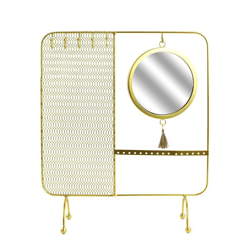 Μεταλλικό Σταντ Κοσμημάτων με Καθρέπτη 35.5 x 30 x 10 cm Home Deco Factory HD5074 - HD5074
