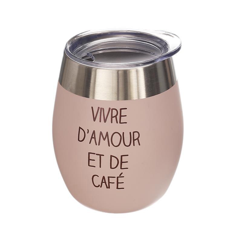 Κούπα Θερμός για Καφέ Εσπρέσο από Ανοξείδωτο Ατσάλι με Καπάκι 250 ml Χρώματος Ροζ Cook Concept KA4654 - KA4654-Pink