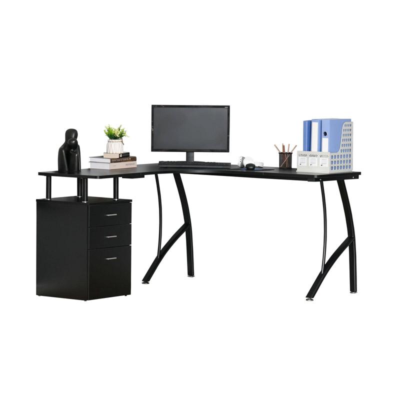 Γωνιακό Μεταλλικό Γραφείο Υπολογιστή με Ντουλάπι 143.5 x 143.5 x 76 cm Χρώματος Μαύρο HOMCOM 920-032V01BK - 920-032V01BK