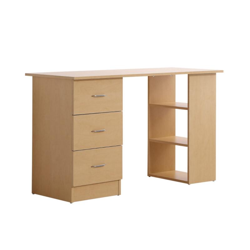 Ξύλινο Γραφείο με 3 Συρτάρια και 3 Ράφια 120 x 49 x 72 cm Χρώματος Καφέ Ανοιχτό HOMCOM 836-068ND - 836-068ND