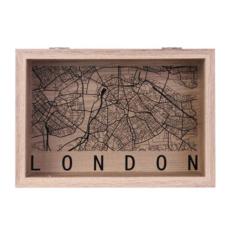 Ξύλινο Κουτί Αποθήκευσης 24 x 16.5 x 6 cm LONDON Home Deco Factory HD2183-LONDON - HD2183-LONDON