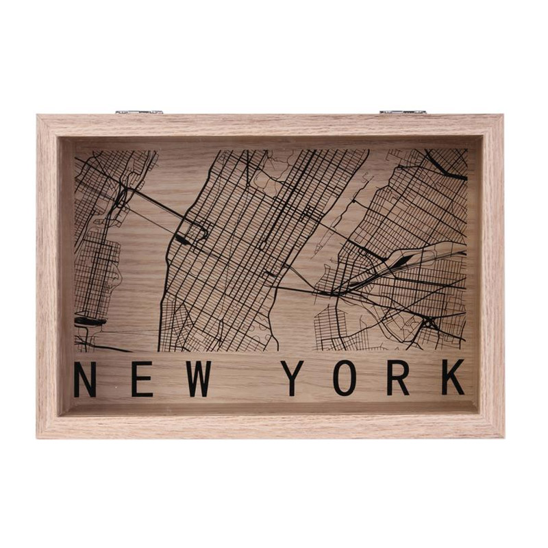 Ξύλινο Κουτί Αποθήκευσης 24 x 16.5 x 6 cm NEW YORK Home Deco Factory HD2183-NY - HD2183-NY