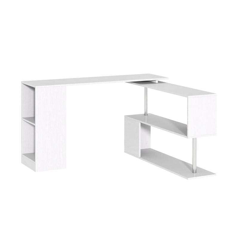 Πολυμορφικό Ξύλινο Γραφείο 140 x 120 x 78 cm Χρώματος Λευκό HOMCOM 836-072WT - 836-072WT