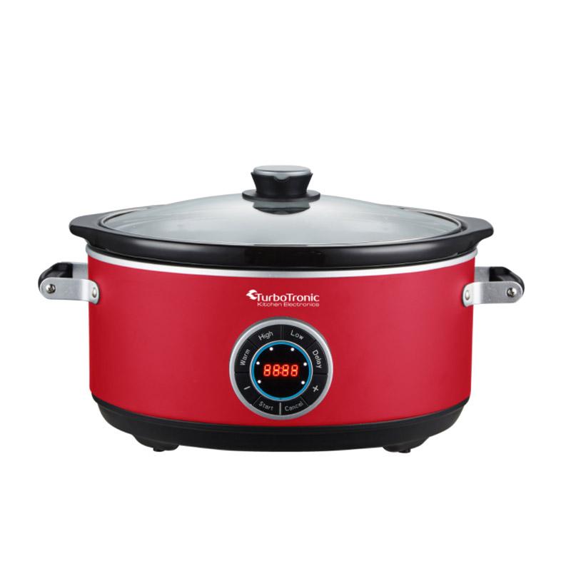 Ηλεκτρική Κατσαρόλα 6.5 Lt με Γυάλινο Καπάκι 300 W Slow Cooker Χρώματος Κόκκινο Turbotronic TT-SC200 Red - TT-SC200 Red
