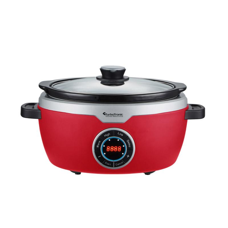 Ηλεκτρική Κατσαρόλα 3.5 Lt με Γυάλινο Καπάκι 190 W Slow Cooker Χρώματος Κόκκινο Turbotronic TT-SC100 Red - TT-SC100 Red