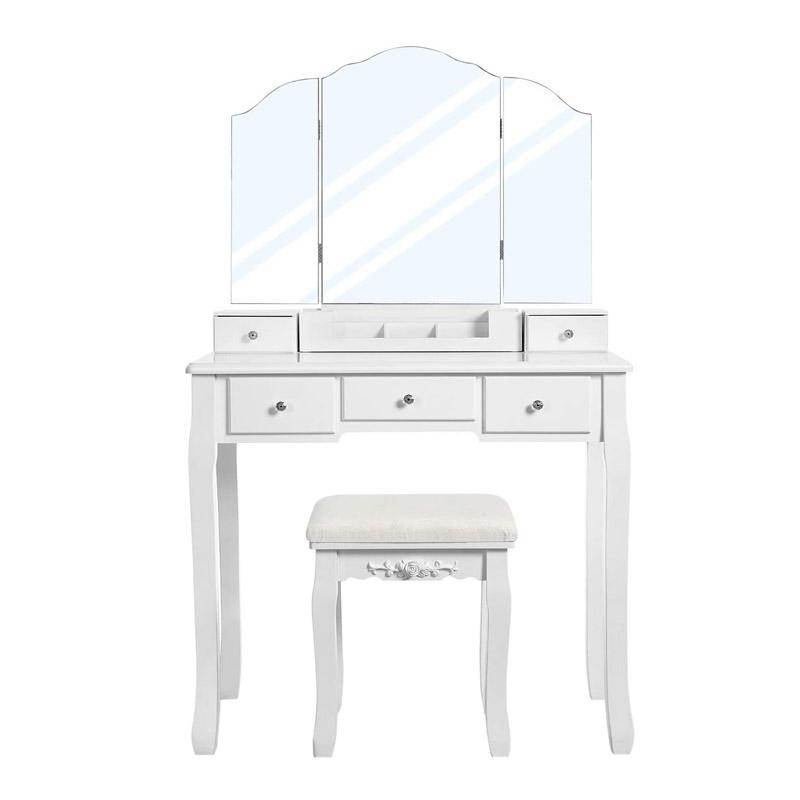 Ξύλινο Μπουντουάρ με Καθρέπτη και Σκαμπό 80 x 40 x 137.5 cm VASAGLE RDT28WT - RDT28WT