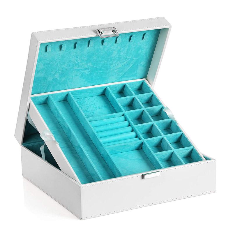 Κοσμηματοθήκη - Μπιζουτιέρα 26 x 26 x 10 cm Χρώματος Λευκό Songmics JDS305W - JDS305W