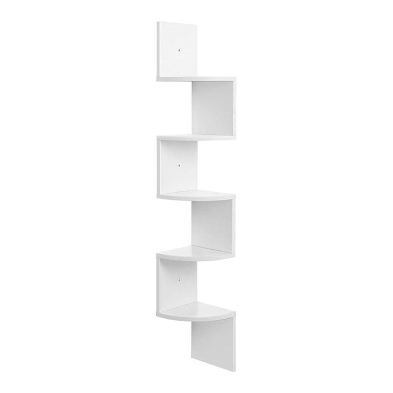 Γωνιακή Ξύλινη Ραφιέρα με 5 Ράφια 20 x 20 x 127.5 cm Χρώματος Λευκό VASAGLE LBC20WT - LBC20WT