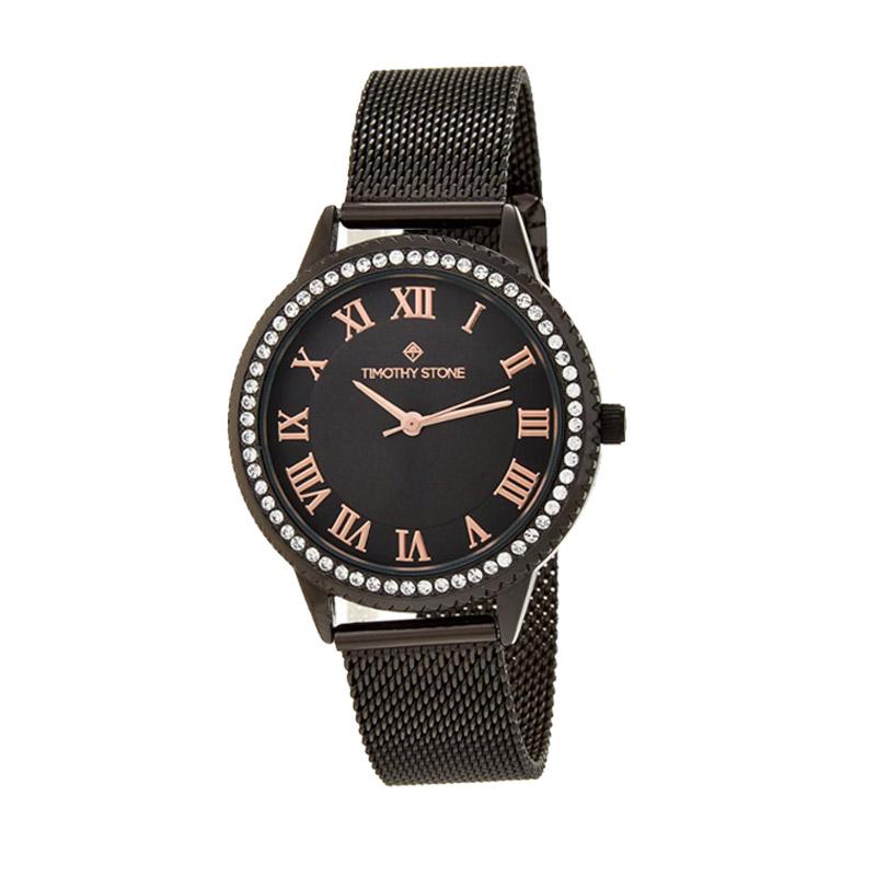 Γυναικείο Ρολόι Χρώματος Μαύρο με Μεταλλικό Μπρασελέ και Κρύσταλλα Swarovski® Timothy Stone Parker Collection P-013-ALBK - P-013-ALBK