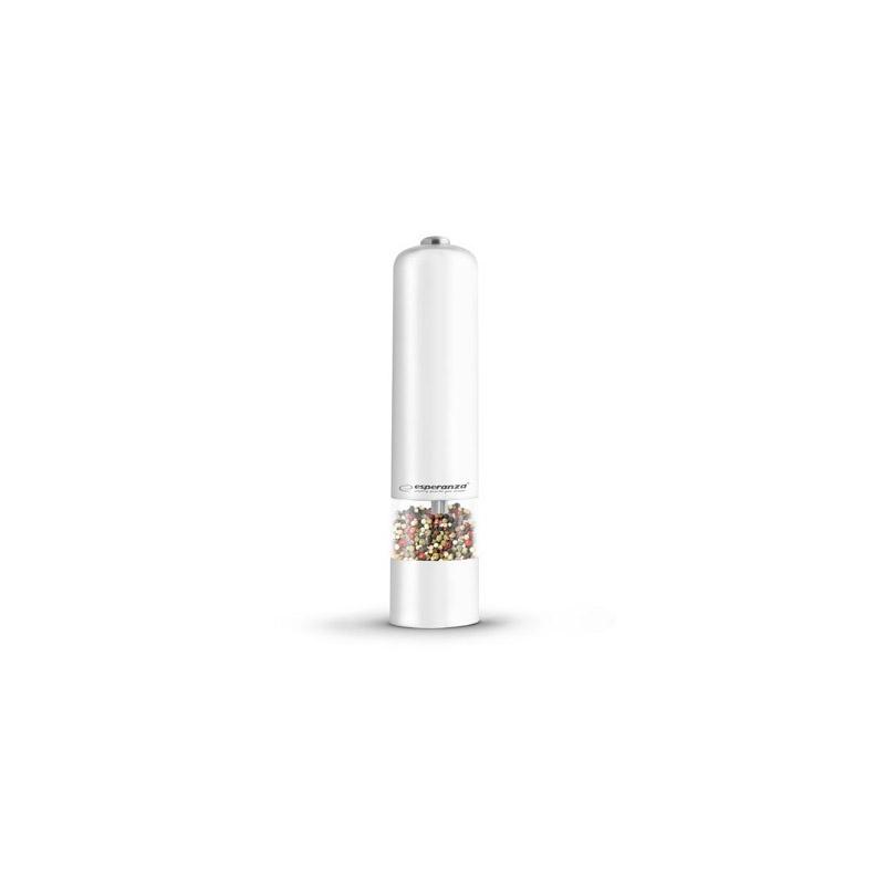 Ηλεκτρικός Μύλος Άλεσης Μπαχαρικών με Φωτισμό LED Χρώματος Λευκό Esperanza MALABARA EKP001W - EKP001W