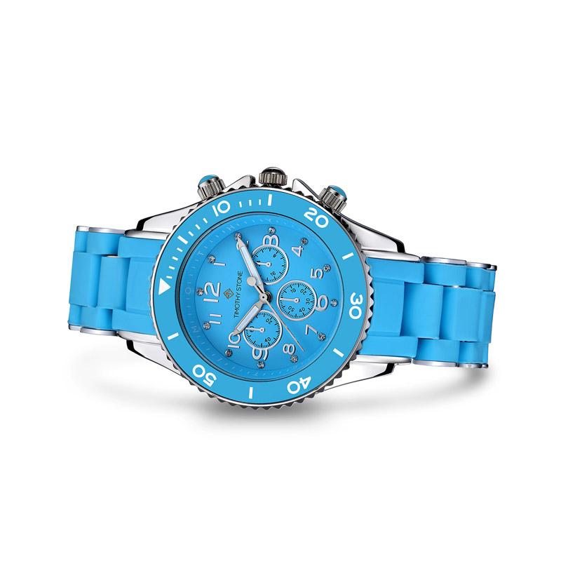Γυναικείο Ρολόι Χρώματος Μπλε - Ασημί με Μπλε Λουράκι Σιλικόνης Timothy Stone A-015-BLSL - A-015-BLSL
