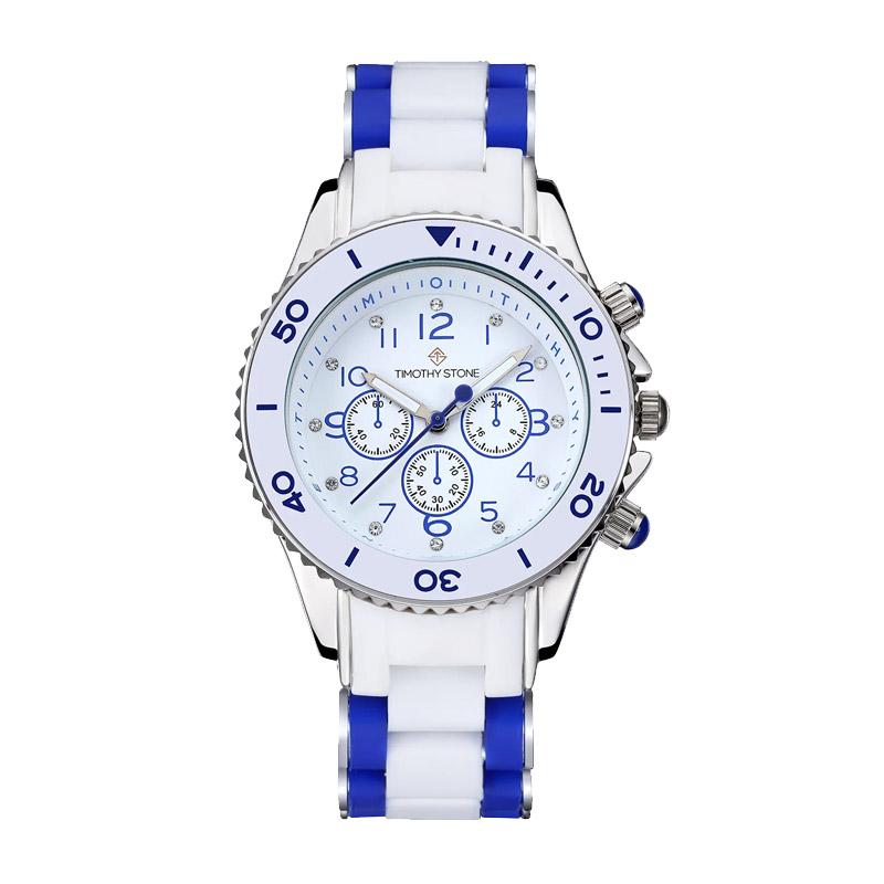 Γυναικείο Ρολόι Χρώματος Λευκό με Λευκό - Μπλε Λουράκι Σιλικόνης Timothy Stone A-022-BLWSL - A-022-BLWSL
